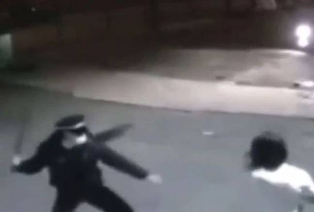 Other footage from the incident shows police pursuing people with batons