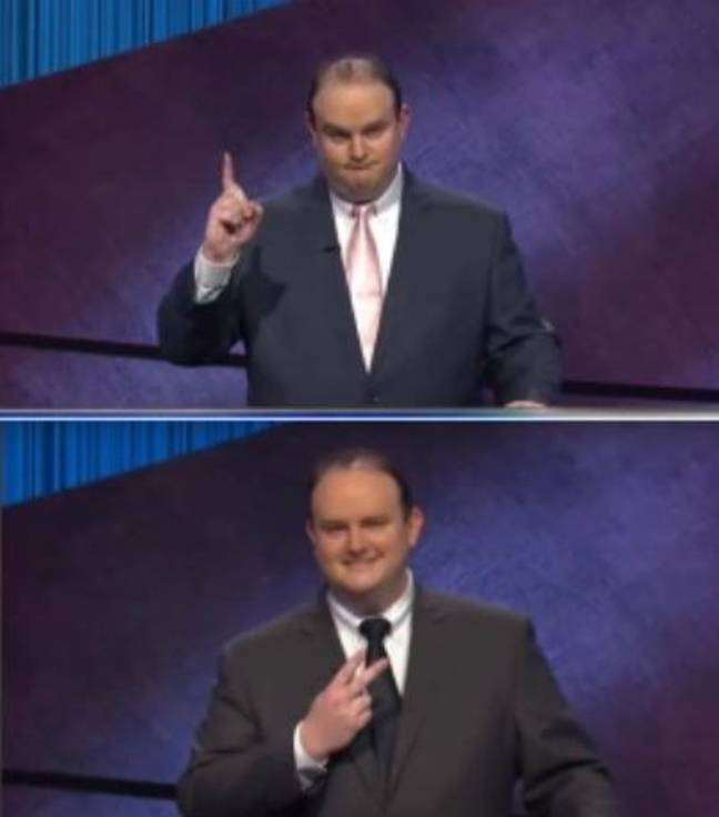 His previous gestures. Credit: Jeopardy!/Sony Pictures