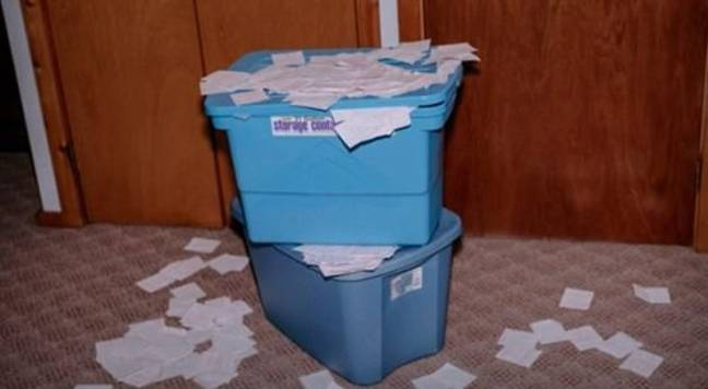 Jerry kept all of the lost lottery tickets, which totaled nearly $ 18 million, and filled 65 plastic buckets.  Credit: CBS