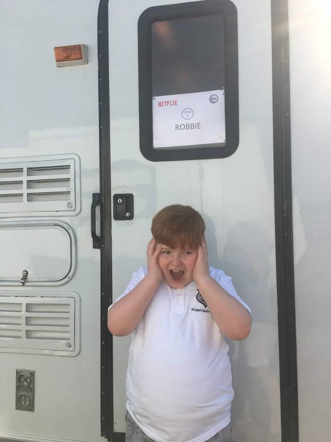 Thomas got his own trailer for the filming of After Life. Credit: Debbie Bastable