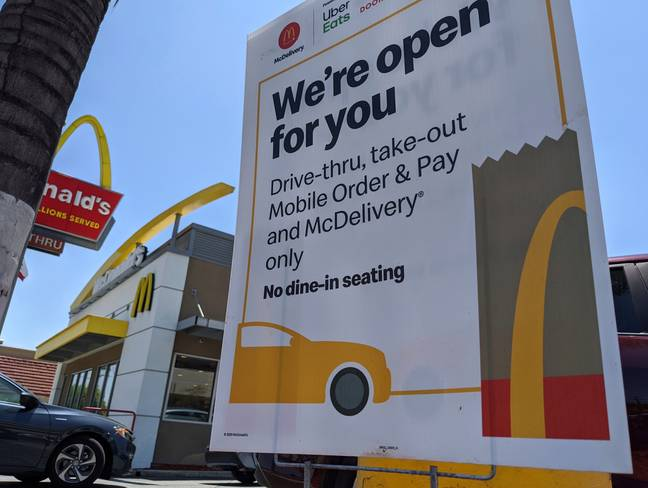 McDonald's has opened some of its UK restaurants for drive-thru and delivery. Credit: PA
