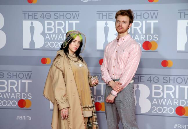 Billie Eilish and Finneas O'Connell at the 2020 BRIT Awards. Credit: PA