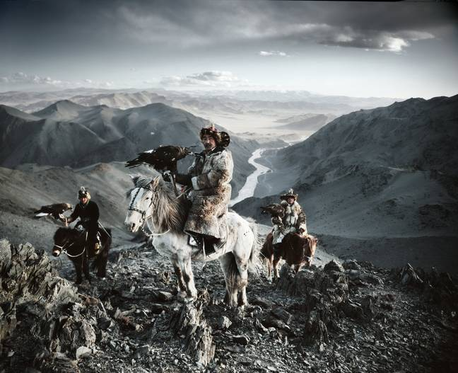 Do you ever think, 'forget this 9 to 5, I wanna be sat on a horse on top of a mountain with all my mates and an eagle'? Credit: SWNS/Jimmy Nelson