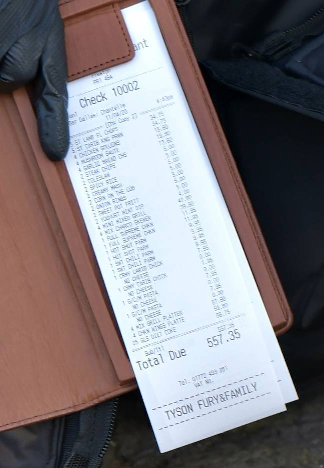 Fury's £557 bill for the takeaway. Credit: BACKGRID