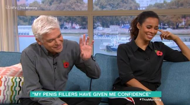 Phillip Schofield and Rochelle Humes speaking to Stuart Price, who has had penis fillers. Credit: ITV