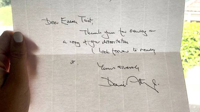 The letter from Attenborough. Credit: SWNS