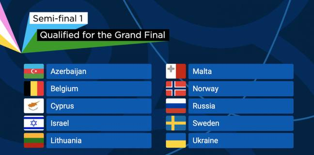 The first semi-final saw ten countries go through to Saturday's final