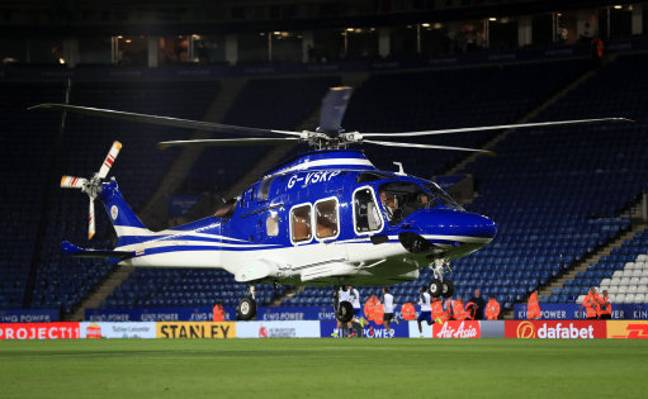 Helicopter belonging to Leicester City owner Vichai Srivaddhanaprabha. Credit: PA