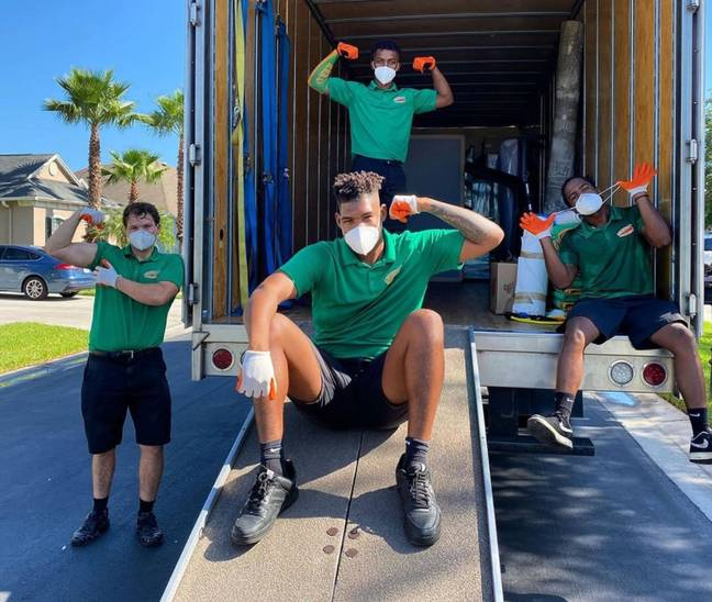 The company has helped more than 100 people move out of abusive homes for free. Credit: College HUNKS Hauling Junk & Moving