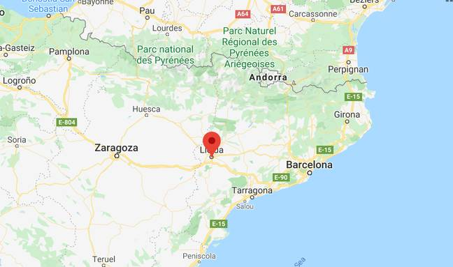 Llieda is about 160km east of Barcelona. Credit: Google Maps