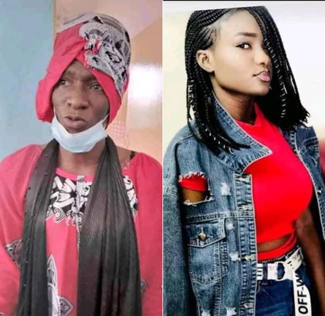 Gangue Dioum (left) disguised as his girlfriend Gangue Dioum (right). Credit: Newsflash