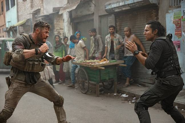 Chris Hemsworth and Rudhraksh Jaiswal in Hargrave's directorial debut, Extraction. Credit: Netflix