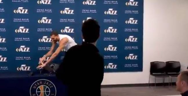 Gobert jokingly touched all the microphones in a press conference. Credit: Twitter
