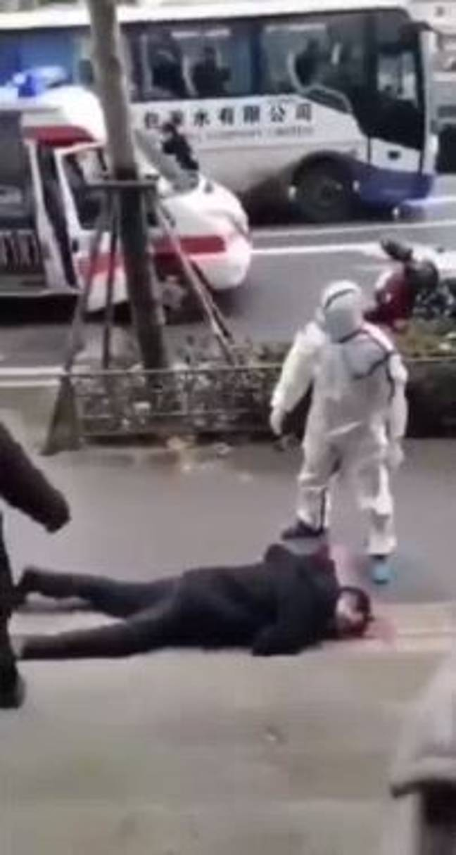 Footage shows people collapsing in the street. Credit: Twitter