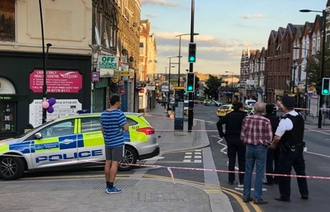 A police crime scene in Sydenham Road, south-east London. Credit: PA