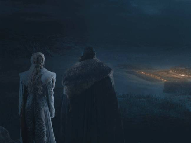 Dany and Jon watch from above. Credit: HBO