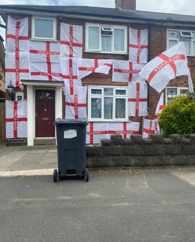 A man has been threatened after covering his home in St George flags. Credit: Nicola Richards