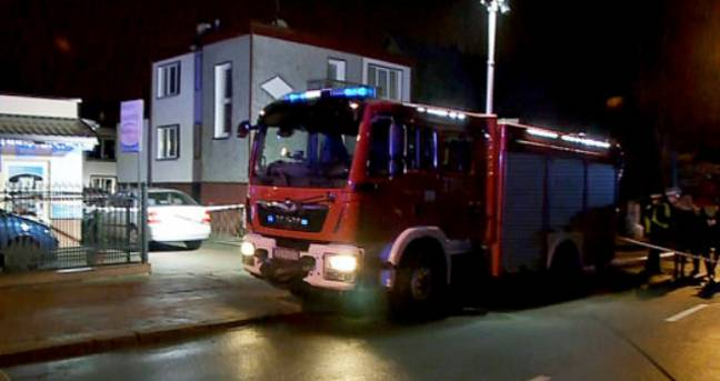 A fire engine at the scene of the tragic escape room fire. Credit: PA