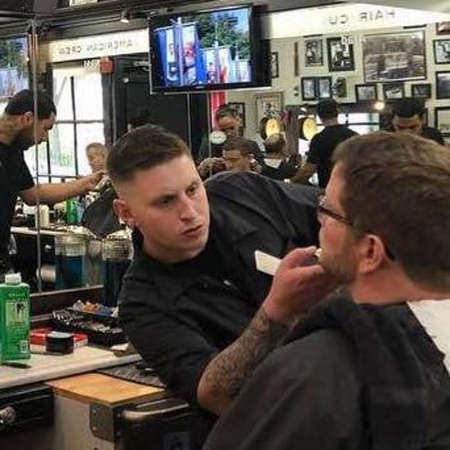 It was Steve's first week back on the job. Credit: Boston Barber and Tattoo Company