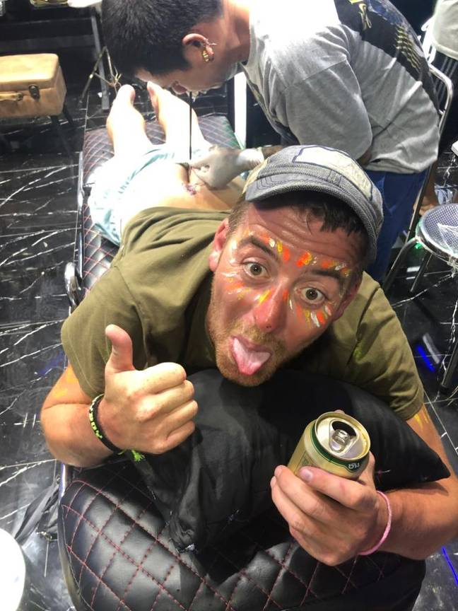 Chris got the tat during a boozy holiday in Thailand. Credit: Jam Press