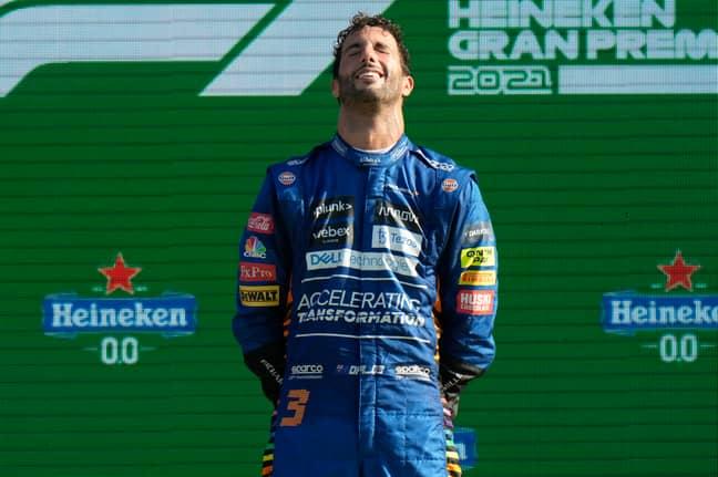 Mclaren driver Daniel Ricciardo of Australia celebrates after winning during the Italian Formula One Grand Prix. Credit: PA