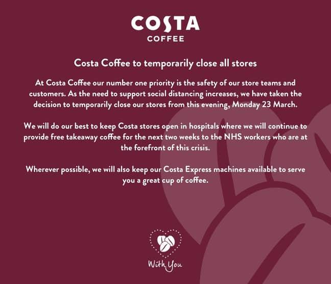 Al UK Costa Coffee shops will close today. Credit: Costa