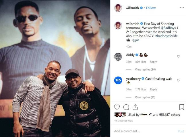 Will Smith announced that filming is about to commence for 'Bad Boys 3'. And, yes, that is P. Diddy commenting. Credit: Instagram/willsmith