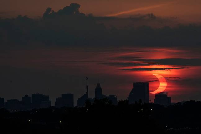The eclipse photographed in Baltimore today. Credit: PA