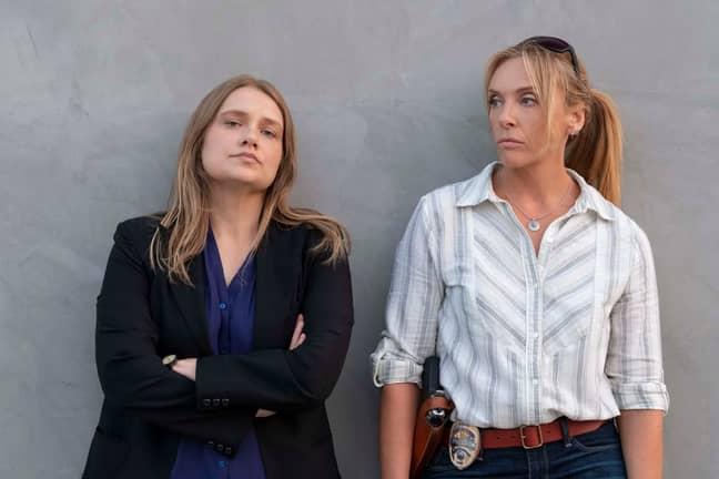 Toni Collette and Merritt Wever as detectives Grace Rasmussen and Karen Duvall. Credit: Netflix