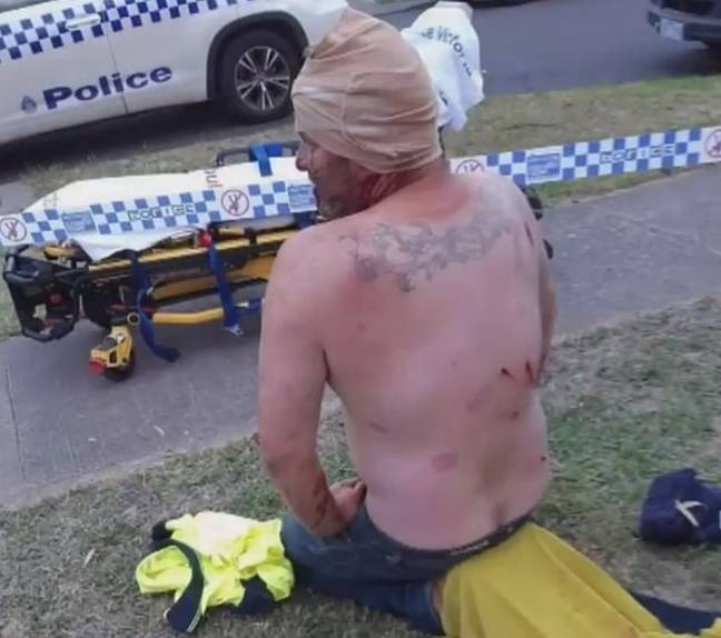 The dad was left with a broken skull. Credit: Nine News