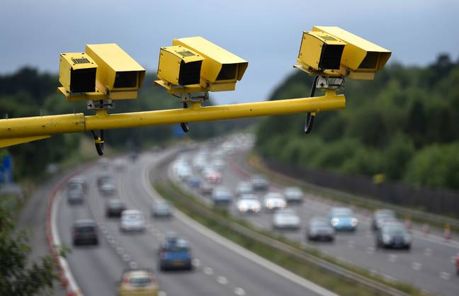 Speed cameras above a motorway in Hampshire. Credit: PA