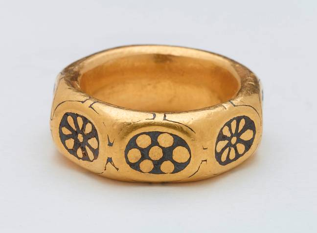 A ring confiscated from the two detectorists. Credit: SWNS