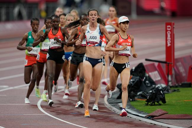 She fell previously after finishing 13th in a 5,000m prelim. Credit: PA