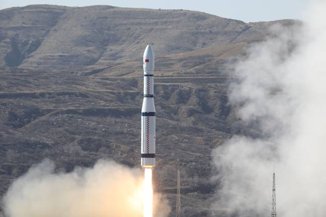 The satellite was carried by a Long March-6 rocket. Credit: Zheng Taotao/Xinhua via PA