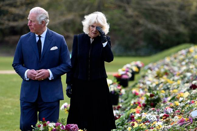 Prince Charles and Camilla, Duke of Cornwall, visit the tributes to the late Prince Philip. Credit: PA