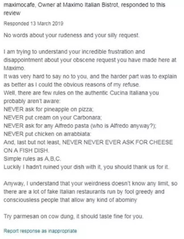 Massimo left a brutal message after receiving the 'terrible' review. Credit: Tripadvisor