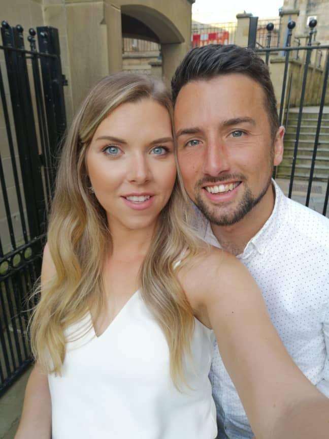 Sam with fiancée Corinna. Credit: LADbible