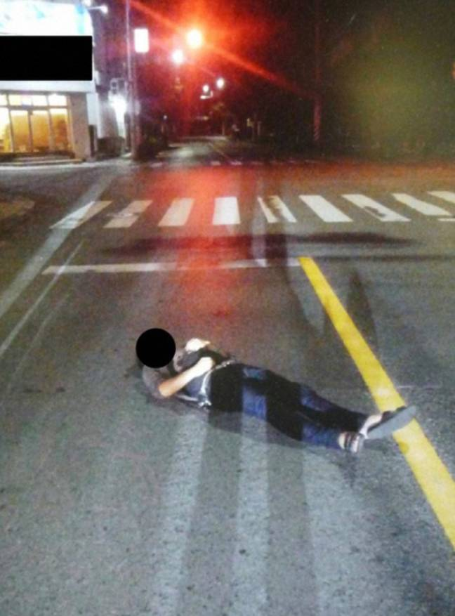 Police have issued pictures of people sleeping on the road. Credit: Okinawa Prefectural Police's Yaeyama Police Station
