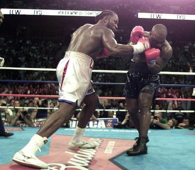 The pair fought in 2002 with Lewis beating Tyson in an eighth round knockout. Credit: PA