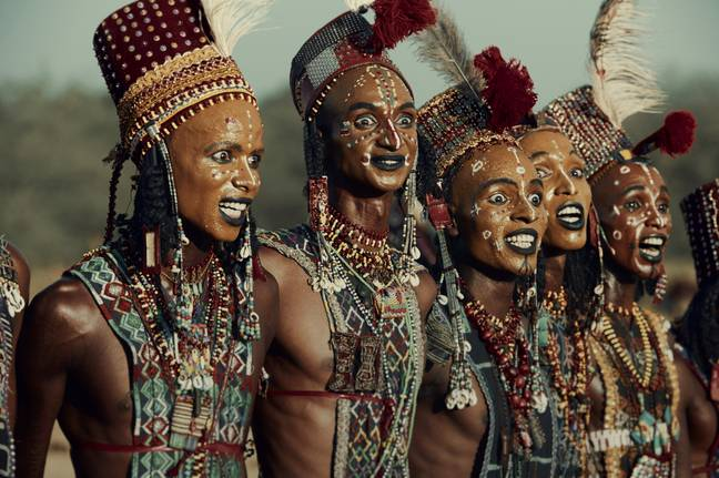 The Wodaabe men await their judgement at the Gerewol festival. Credit: SWNS/Jimmy Nelson