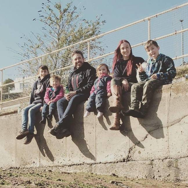 Rebecca Edge and her family. Credit: SWNS