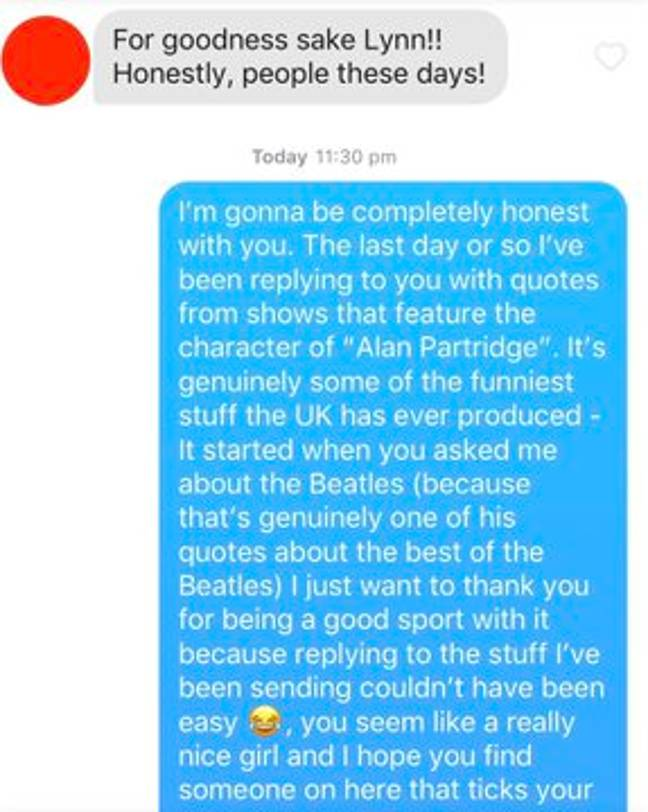 Dan eventually came clean to his Tinder match. Credit: Triangle News