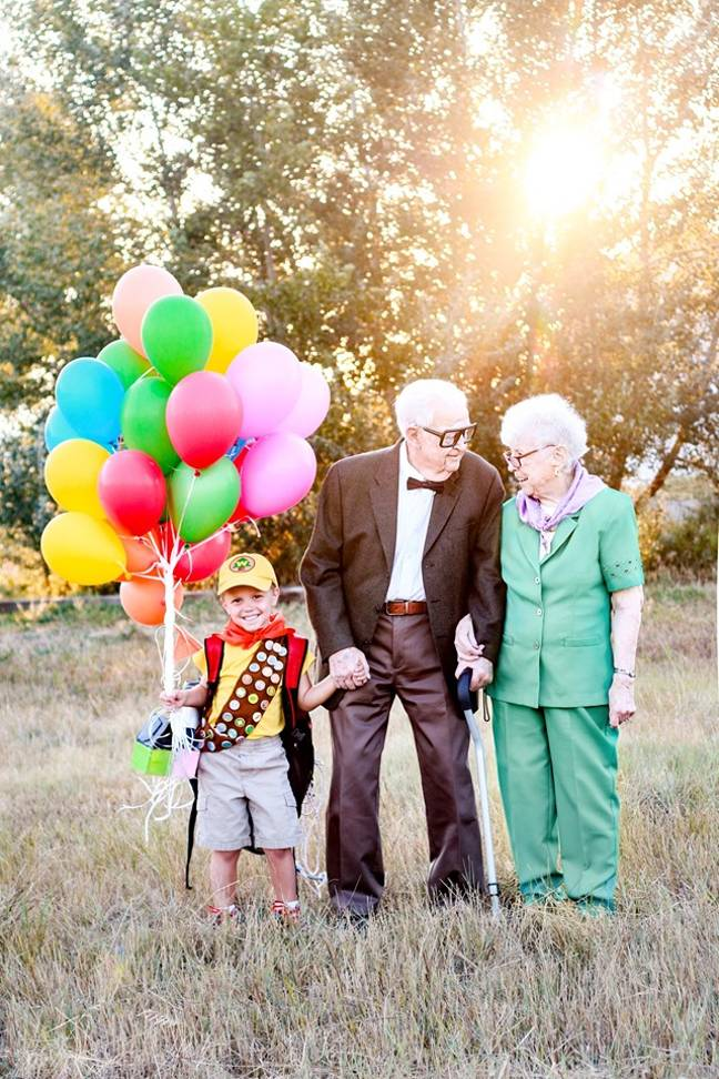 Elijah with his great-grandparents Richard and Caroline. Credit: Rachel Perman Photography