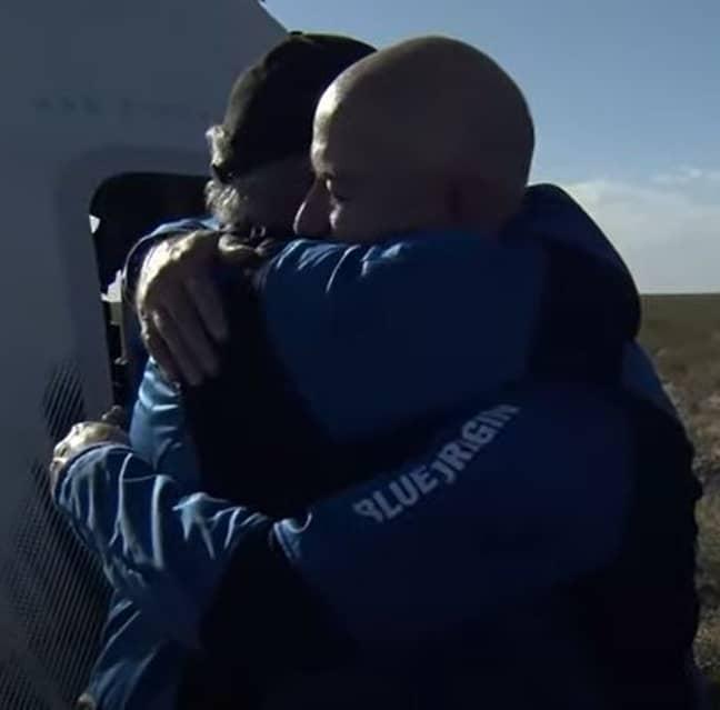 Shatner embraced Bezos upon landing back on Earth. Credit: NBC News/Blue Origin
