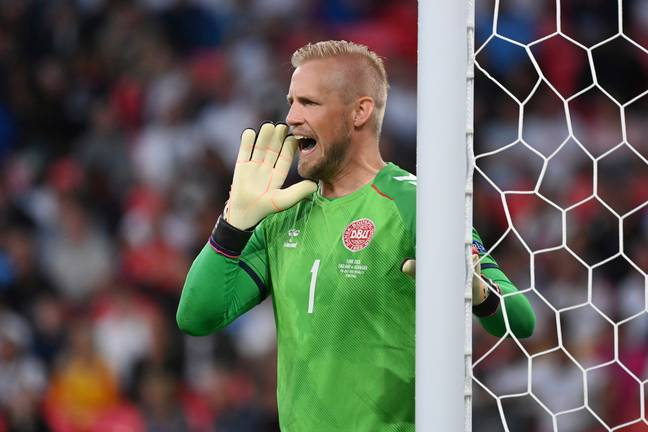 Peter's son Kasper Schmeichel in the Euro 2020 semi-final against England. Credit: PA