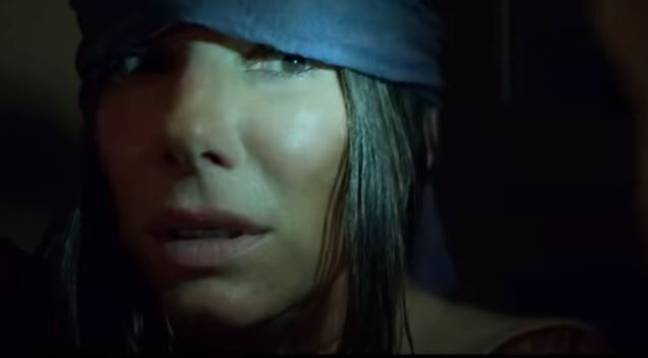 Sandra Bullock, as Malorie, enters the sanctuary during the final scenes of 'Bird Box'. Credit: Netflix