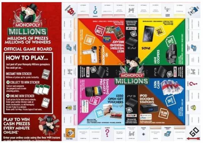 A previous McDonald's Monopoly board. Credit: McDonald's