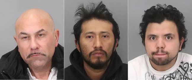 L-R: Albert Thomas Vasquez, Antonio Quirino Salvador and Hediberto Gonzalez Avarenga. Credit: San Jose Police