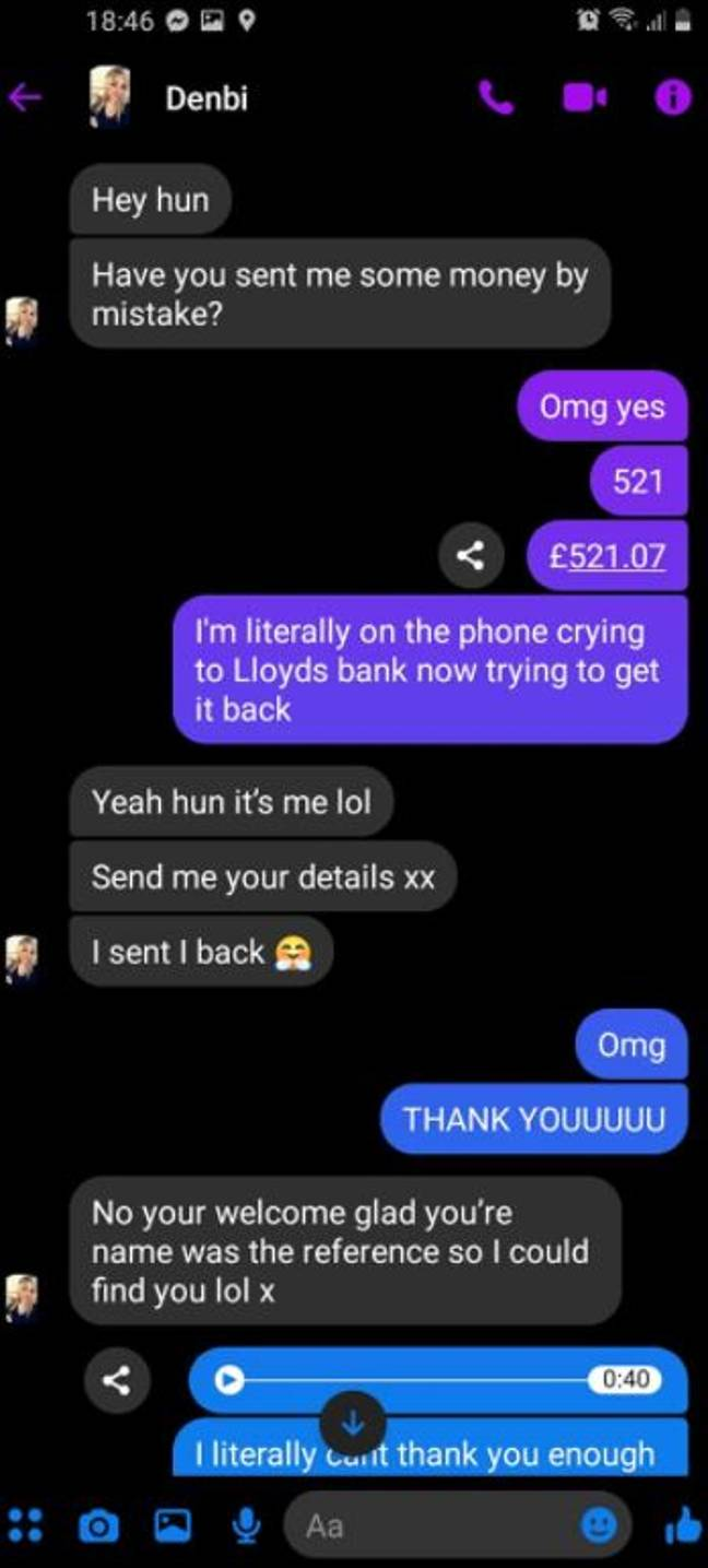 Denbi reached out to Leah after spotting the money in her account. Credit: Supplied