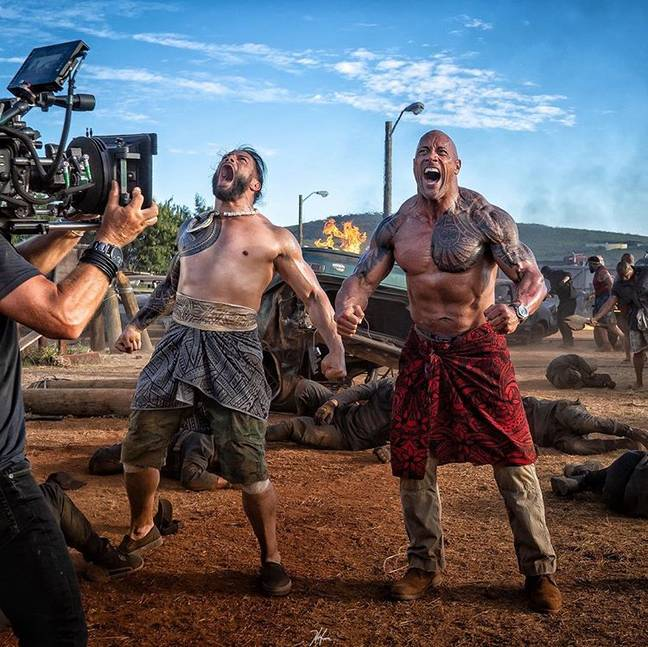 The Rock and Roman Reigns on the set of 'Hobbs & Shaw'. Credit: Instagram